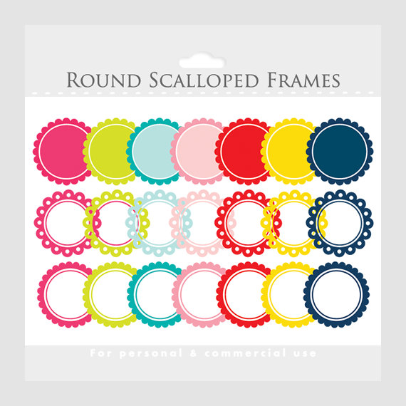 Scalloped Frames Clipart - Round Frames For Collages, Photos ...
