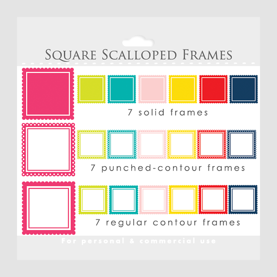 Square Scalloped Frames Clipart - Square Frames For Collages ...